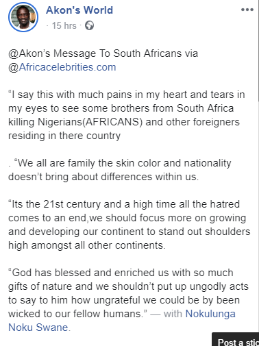 """""""I say this with much pains in my heart - Akon's sad message to South Africans Amid Xenophobia. Singer, songwriter and producer, Akon has joined the many voices to criticize South Africans actions toward foreigners amid Xenophobic attacks"""
