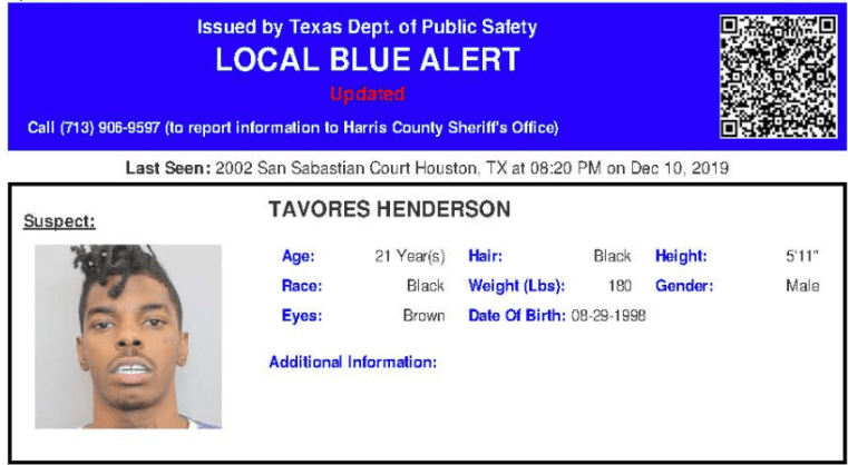 DPS has issued a blue alert on Tavores Henderson