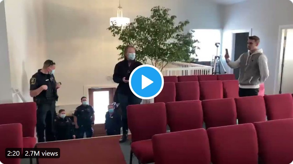 Video: Pastor of Calgary church, Pawlowski confronts and drives out police
