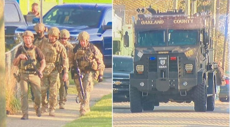 Heavily armed authorities respond to scene in Waterford Township