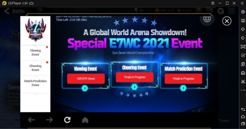E7 WC 2021 Event The developers of Epic Seven released the notes for this new event E7 WC 2021. This new event is also known as the Epic Seven world Arena Championship. The purpose of this event is that the players can get rewards by participating in this event. It is an RTA tournament, and multiple players can participate in this event. This event is based on or includes three separate events.
