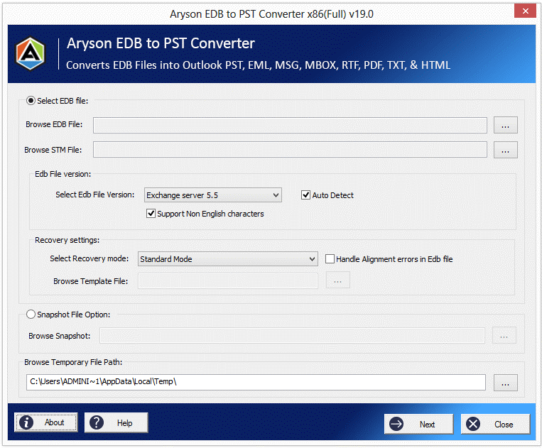 4. Aryson EDB to PST Converter Aryson EDB to PST Converter is a popular tool used to convert Exchange mailbox database to PST. It converts offline EDB files into Outlook importable PST format with complete integrity. It also converts Exchange EDB files to EML, MBOX, MSG, PDF, TXT, RTF, and HTML file formats. You can also choose to export the converted EDB mailboxes directly to Office 365.