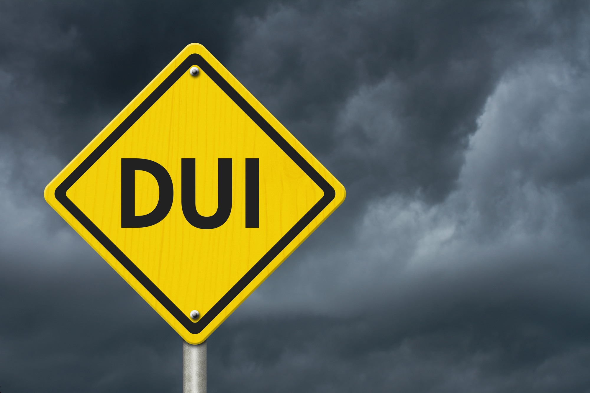 Yellow Warning DUI Highway Road Sign