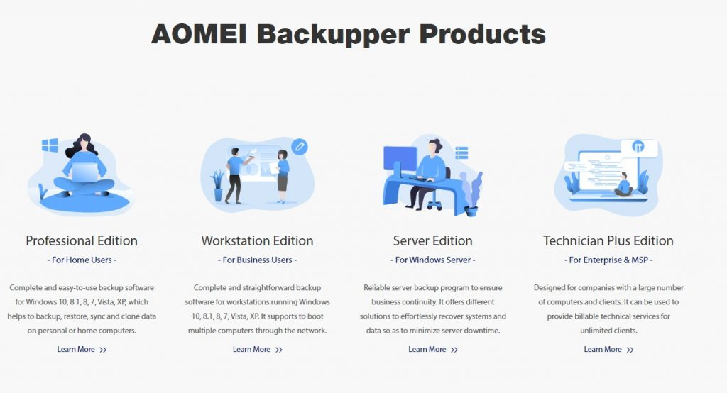 What is AOMEI Backupper? AOMEI Backupper is a cloud-based backup and business recovery solution that allows corporates to plan divergent and sequential backups in order to recover files throughout the system, partitions, and hard drives. It has a universal restoration program that allows teams to share data across devices with different hardware configurations. Administrators can track updated or deleted files in real-time thanks to the platform's real-time file synchronization feature.